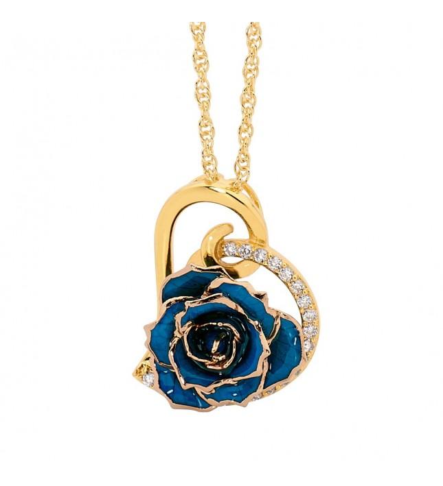 Blue Glazed Rose Heart Pendant 24K Gold