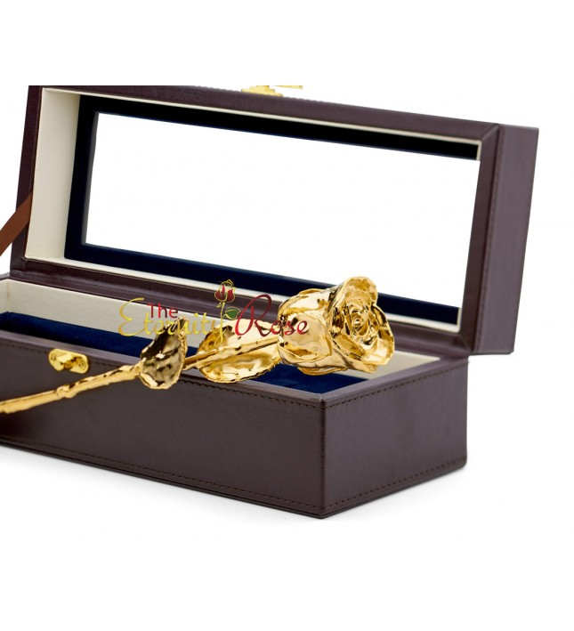 Gold-Dipped Rose. Leather Window Box