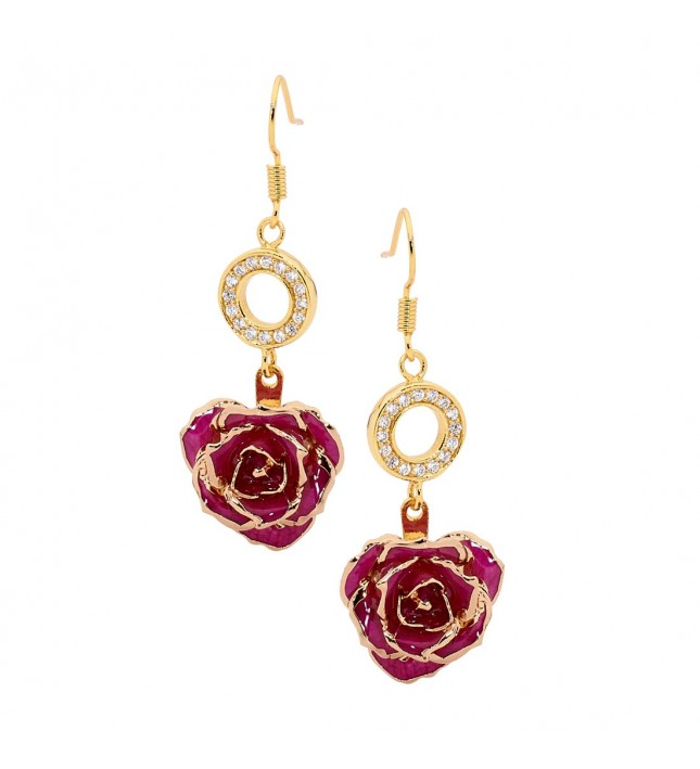 Purple Glazed Rose Earrings in 24K Gold