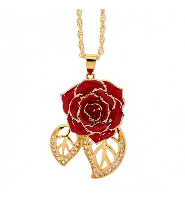 Red Glazed Rose Pendant in 24K Gold Leaf Theme