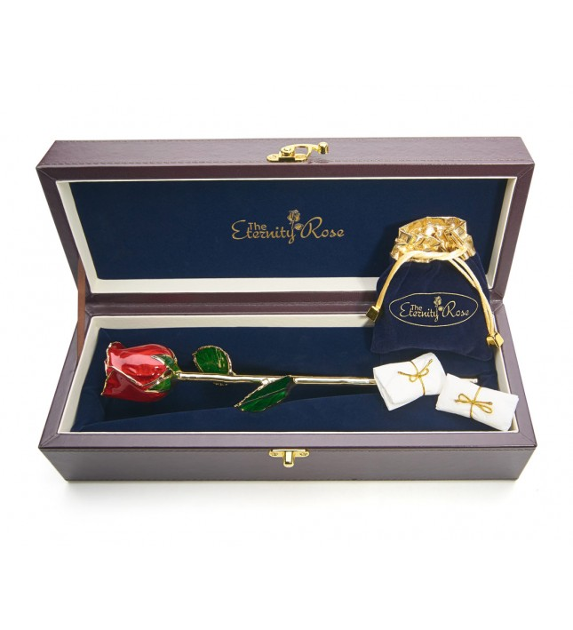 Red Matched Set in 24k Gold Leaf Theme. Tight Bud Rose, Pendant & Earrings