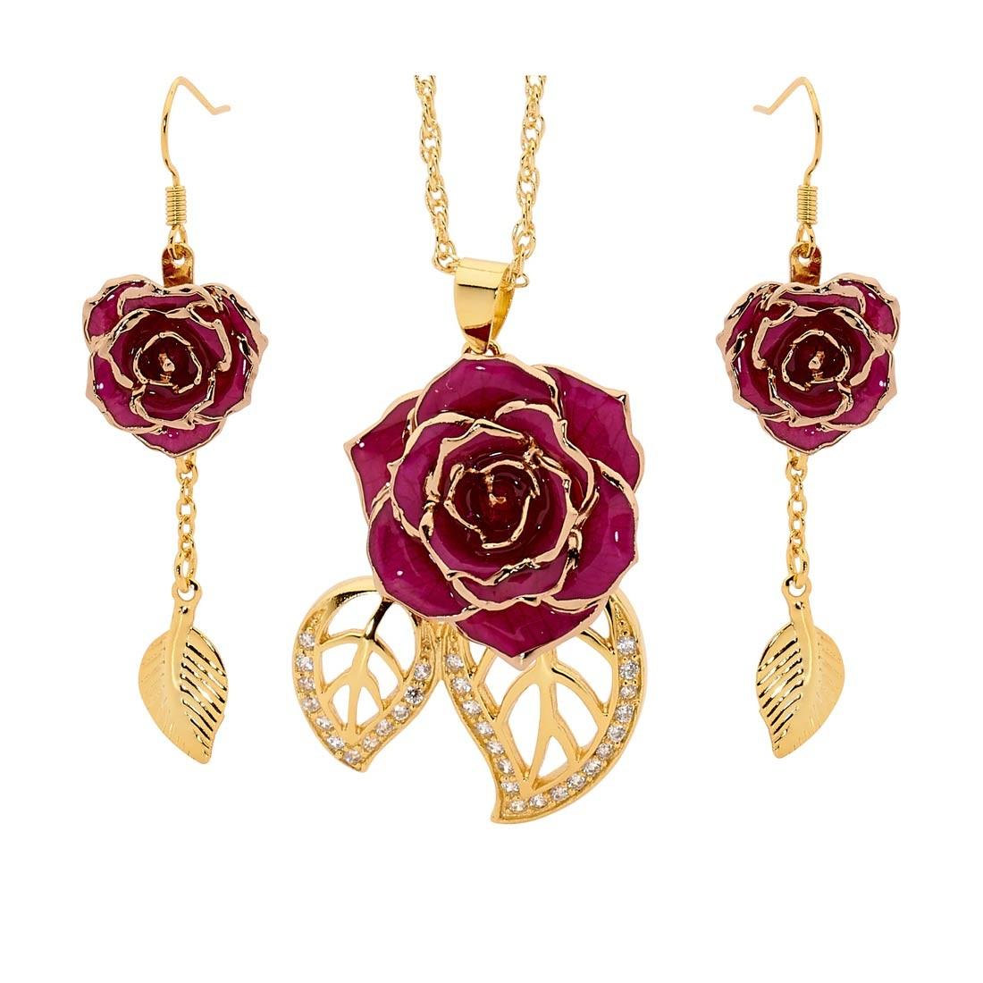 purple matching pendant and earring set leaf theme 24k gold. Black Bedroom Furniture Sets. Home Design Ideas