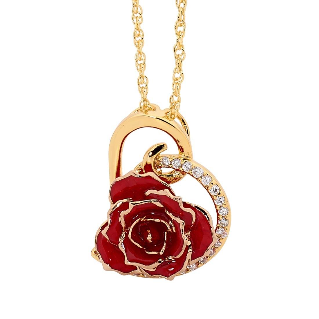 Red glazed rose heart pendant 24k gold mozeypictures Choice Image