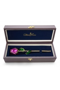Purple Tight Bud Glazed Rose Trimmed with 24K Gold 12""