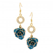 Blue Glazed Rose Earrings in 24K Gold