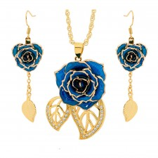 Gold-Dipped Rose & Blue Matched Jewelry Set in Leaf Theme