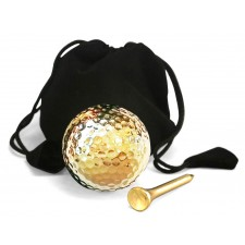 Playable Golf Ball & Tee Set 24 Karat Gold-Dipped