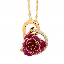 Purple Glazed Rose Heart Pendant 24K Gold