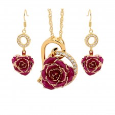 Gold-Dipped Rose & Purple Matched Jewelry Set in Heart Theme