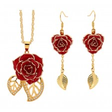 Red Matching Pendant and Earring Set - Leaf Theme 24K Gold