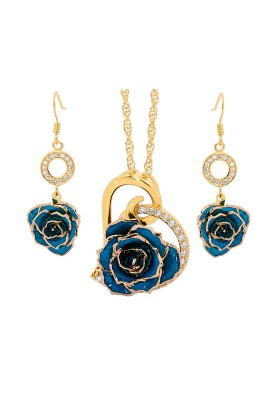Gold-Dipped Rose & Blue Matched Jewelry Set in Heart Theme