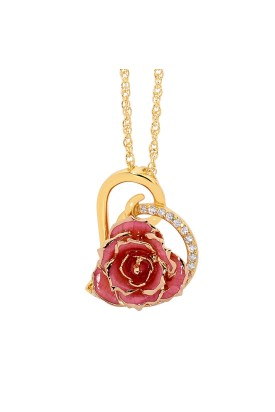 Pink Glazed Rose Heart Pendant 24K Gold