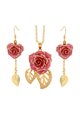 Pink Matched Set in 24k Gold Leaf Theme. Rose, Pendant & Earrings
