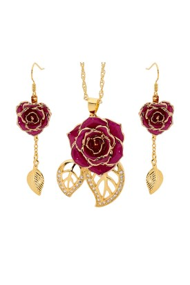 Purple Matched Set in 24k Gold Leaf Theme. Rose, Pendant & Earrings