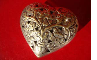 Brass heart for 21st anniversary
