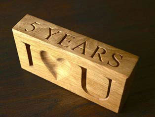 Wooden gift for 5th anniversary