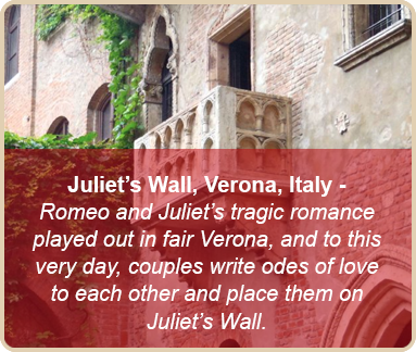 valentine romantic places juliet wall italy